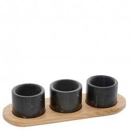 Menage Holz (Esche) 30 cm mit 3 Marmor Schälchen schwarz Ø7,6 cm
