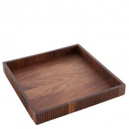 Tablett Holz (Walnuss) rechteckig 30x30x4 cm