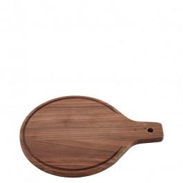 Servierbrett Holz (Walnuss) rund 25x33 cm