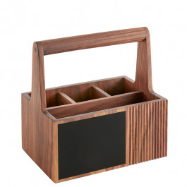 Besteckbox 15x22x23 cm mit Griff Holz (Walnuss)