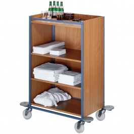 Chambermaid trolley medium blue/beech, large Standard